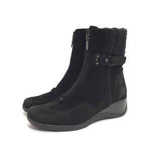 Aquatalia Black Suede Wedge Heel Zip Ankle Boots